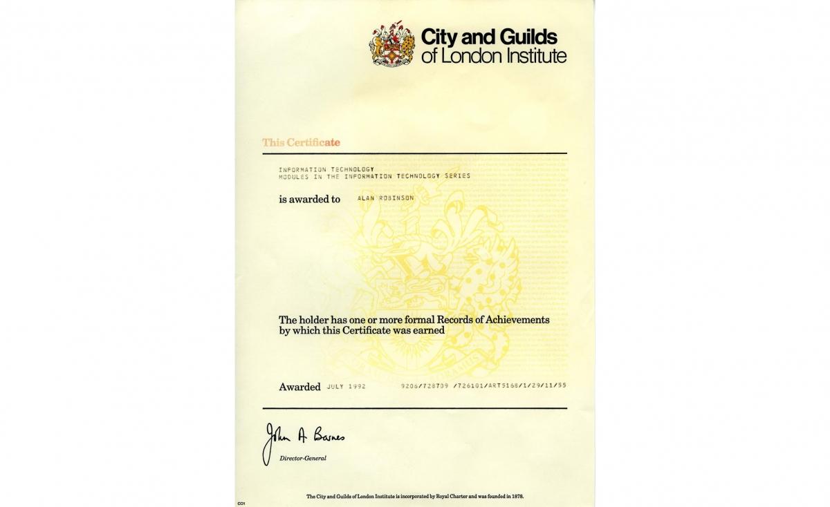 نمونه مدرک City & Guilds انگلستان