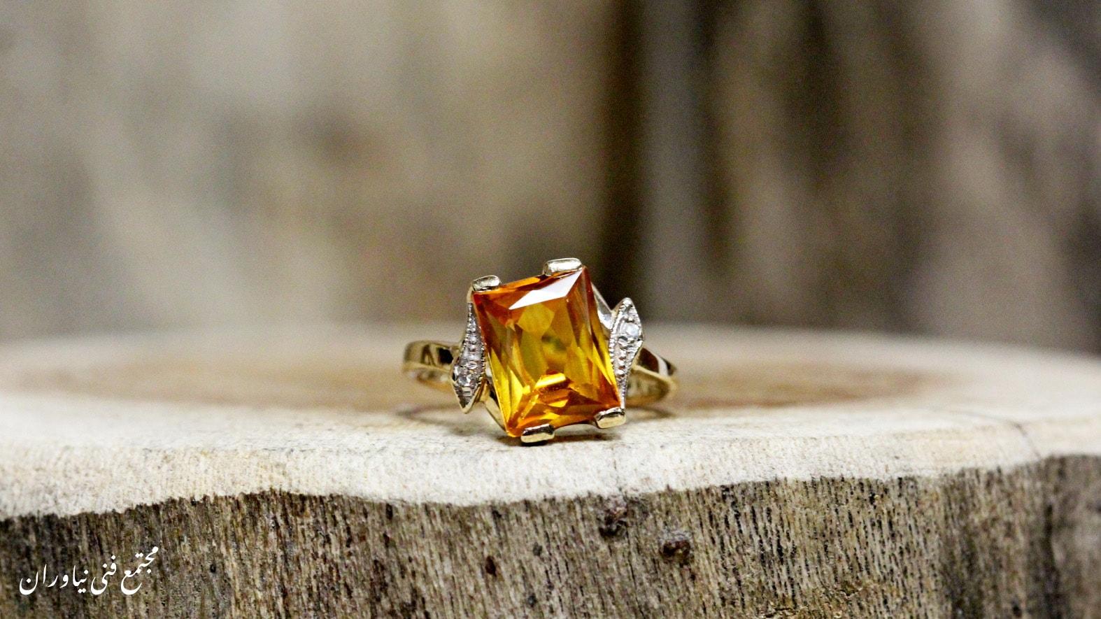 انگشتر سنگ توپاز زرد (طلایی)